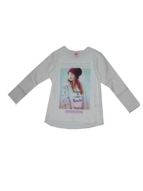 98-128-Dívčí tričko Glo-Story - dlouhý rukáv - smetanová barva