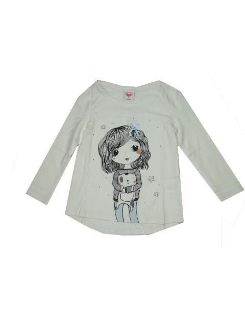 98-Dívčí tričko Glo-Story - dlouhý rukáv - smetanová barva
