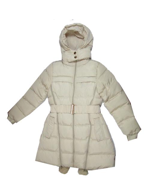 164-170-Dívčí zimní bunda (prodloužený kabátek) Monellina - béžová barva