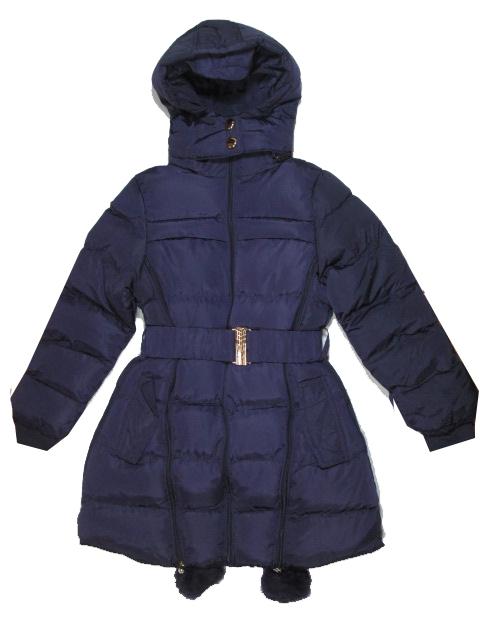 170-176-Dívčí zimní bunda (prodloužený kabátek) Monellina - tm.fialová