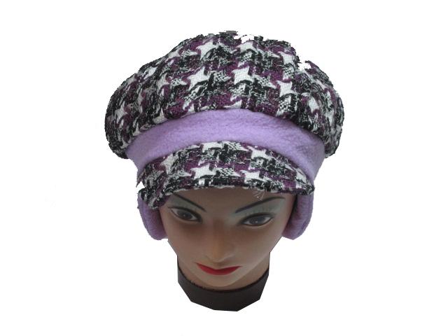 obvod 52,54-Dívčí zimní flaušová čepice - fialová barva