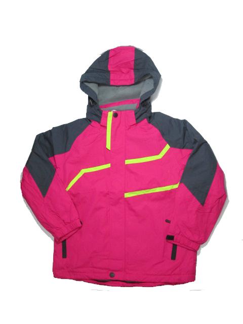 152-Dívčí jarní (podzimní) šusťáková bunda s fleesem KUGO - tm.růžová