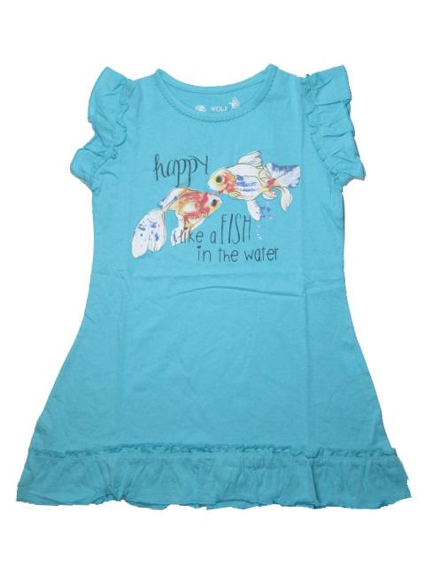 vel.104,110-Dívčí noční košile - krátký rukáv - WOLF -tyrkysová barva