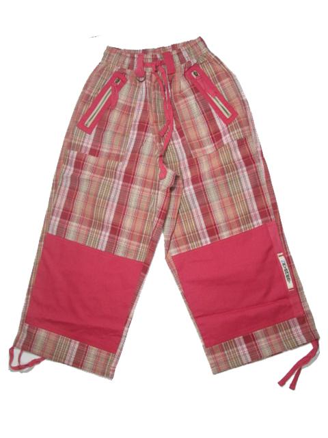 146-Dětské 3/4 outdoorové plátěné kalhoty Neverest - hnědo-červená kostka