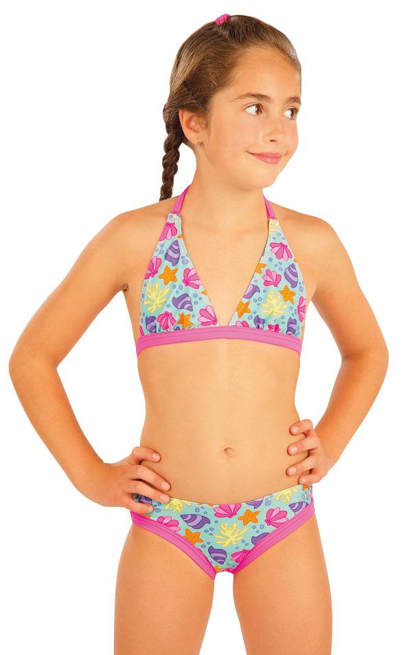 vel.146-Dívčí plavkové bokové kalhotky Litex - růžové lemování