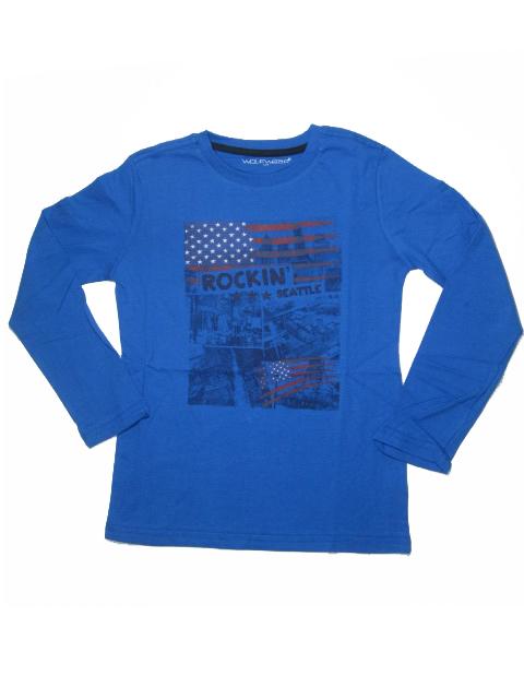 146-164-Chlapecké tričko - dlouhý rukáv WOLF - modrá barva