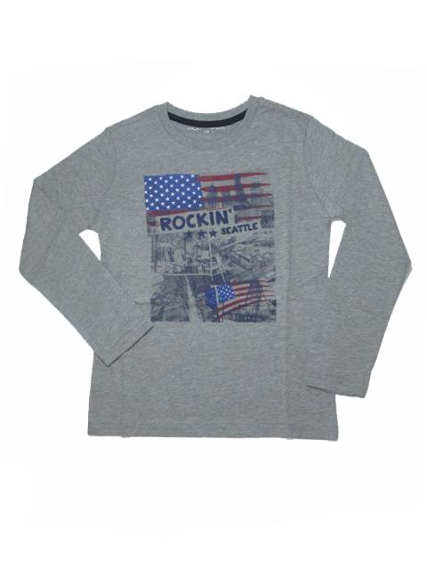 146-164-Chlapecké tričko - dlouhý rukáv WOLF - šedý melír