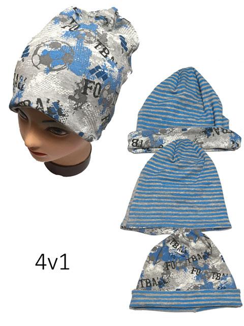 obvod 52,54 cm -Chlapecká podzimní/jarní čepice Rockino 4 v 1 - sv.šedá barva