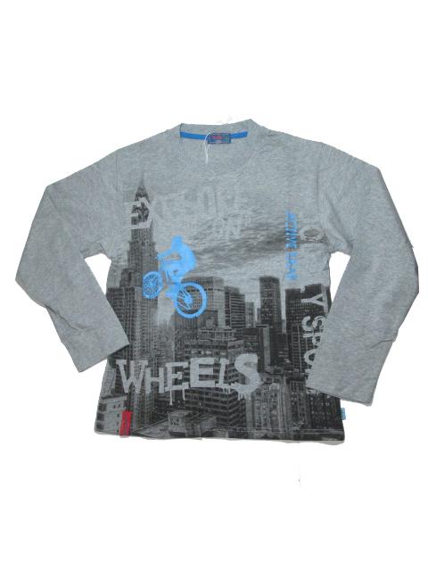 140-164-Chlapecké tričko KUGo - dlouhý rukáv - barva šedý melír