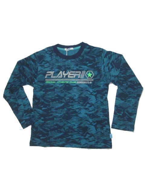 134-164-Chlapecké tričko KUGo - dlouhý rukáv - petrolejová barva