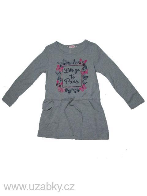110-116-Dívčí tričko-tunika-šaty KUGO - šedá barva