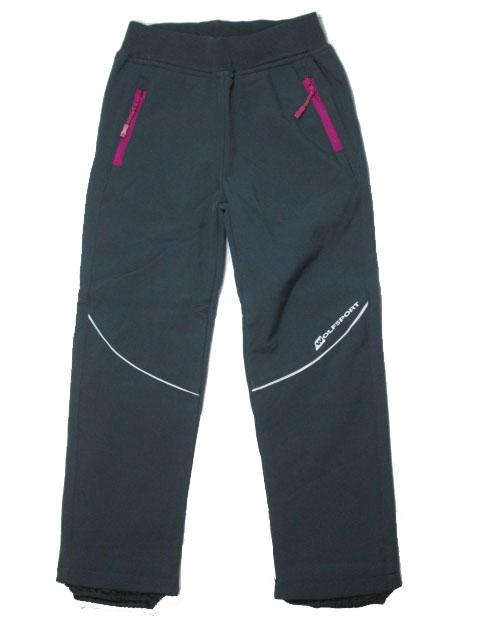 128,146-Dětské softshellové kalhoty -flees- WOLF - šedá barva (růžové zipy)
