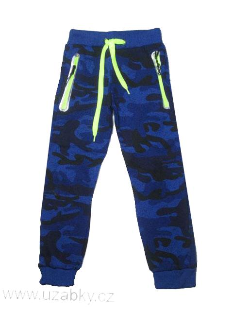 122-Chlapecké maskáčové teplejší tepláky KUGO - modrá