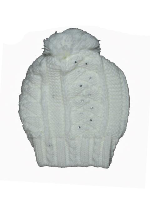 obvod 50-56 cm (UNI)-Dívčí zimní pletená čepice - smetanová barva