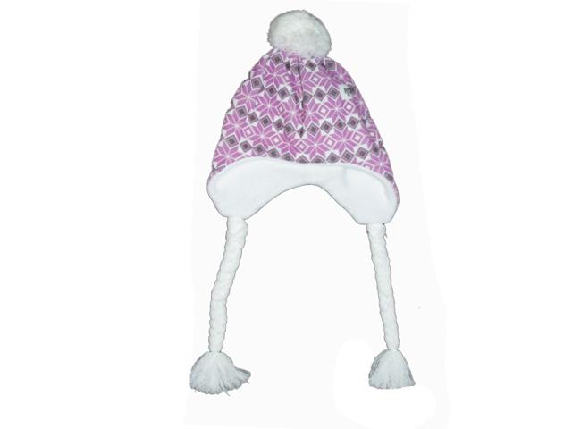 obvod 50,52,54-Dívčí zimní flaušová čepice - fialovo-bílá barva