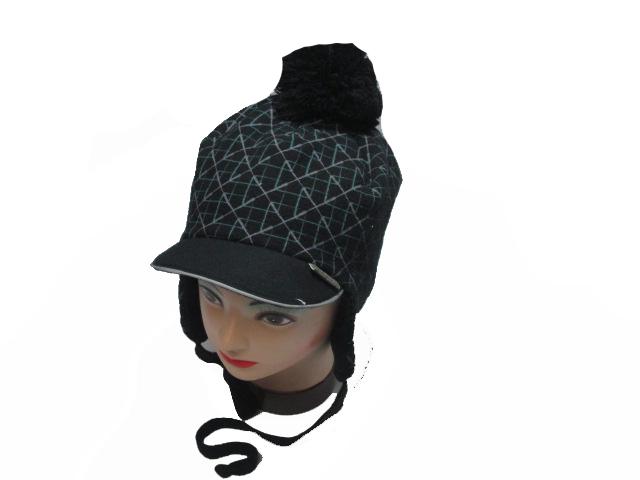 obvod 52,54,56-Chlapecká zimní flaušová čepice - černá barva