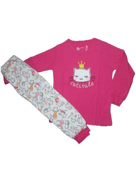 vel.110-140-Dívčí pyžamo WOLF - tm.růžová barva