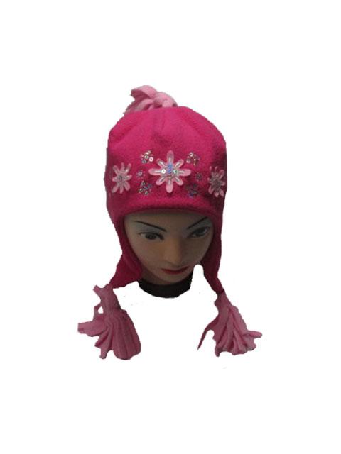 obvod 52,-Dívčí zimní fleesová čepice - tm.růžová barva