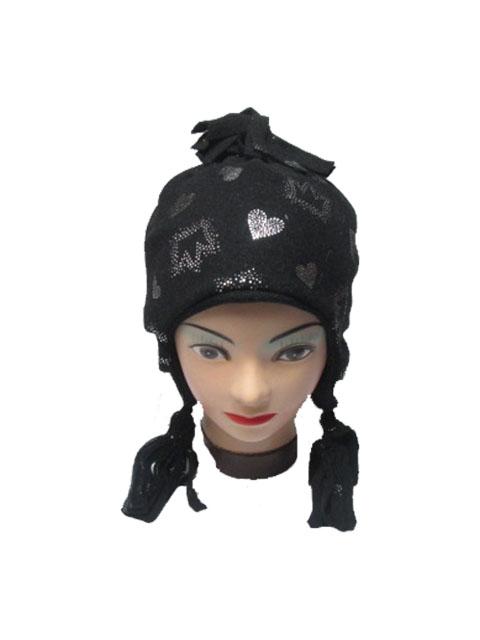 obvod 52,54,56-Dívčí zimní fleesová čepice - černá barva