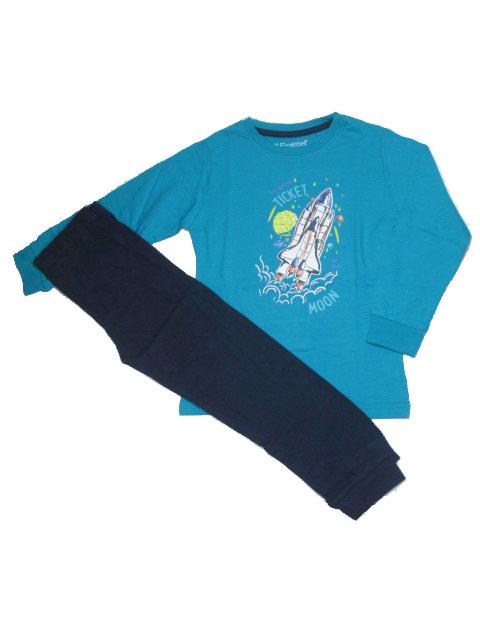 110-140-Chlapecké pyžamo WOLF - petrolejová barva