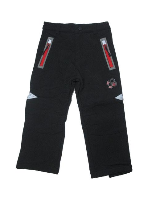 98,128-Dětské softshellové kalhoty flees KUGO - černá barva (oranžové zipy)