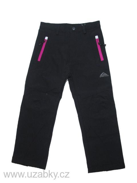 122,128-Dětské softshellové kalhoty (bez fleesu) KUGO - černá (růžové zipy)