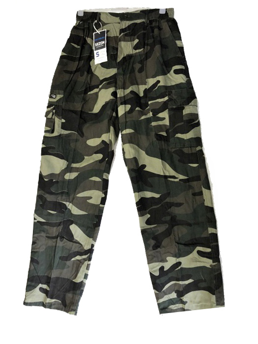 2XL,3XL,4XL - Pánské maskáčové kalhoty - khaki barva SEZON