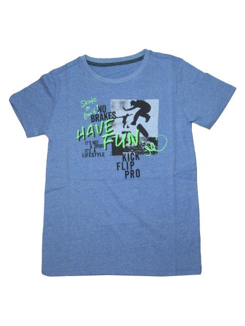 vel.134-164-Chlapecké melírované tričko WOLF - krátký rukáv - modrá barva