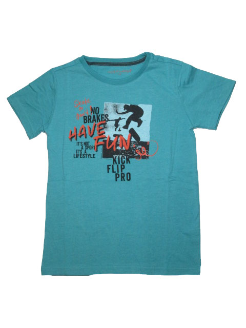 vel.134-164-Chlapecké melírované tričko WOLF - krátký rukáv - zelená barva