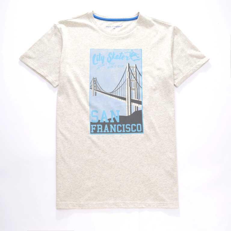 vel.134-164-Chlapecké tričko WOLF - krátký rukáv - barva sv.šedý melír