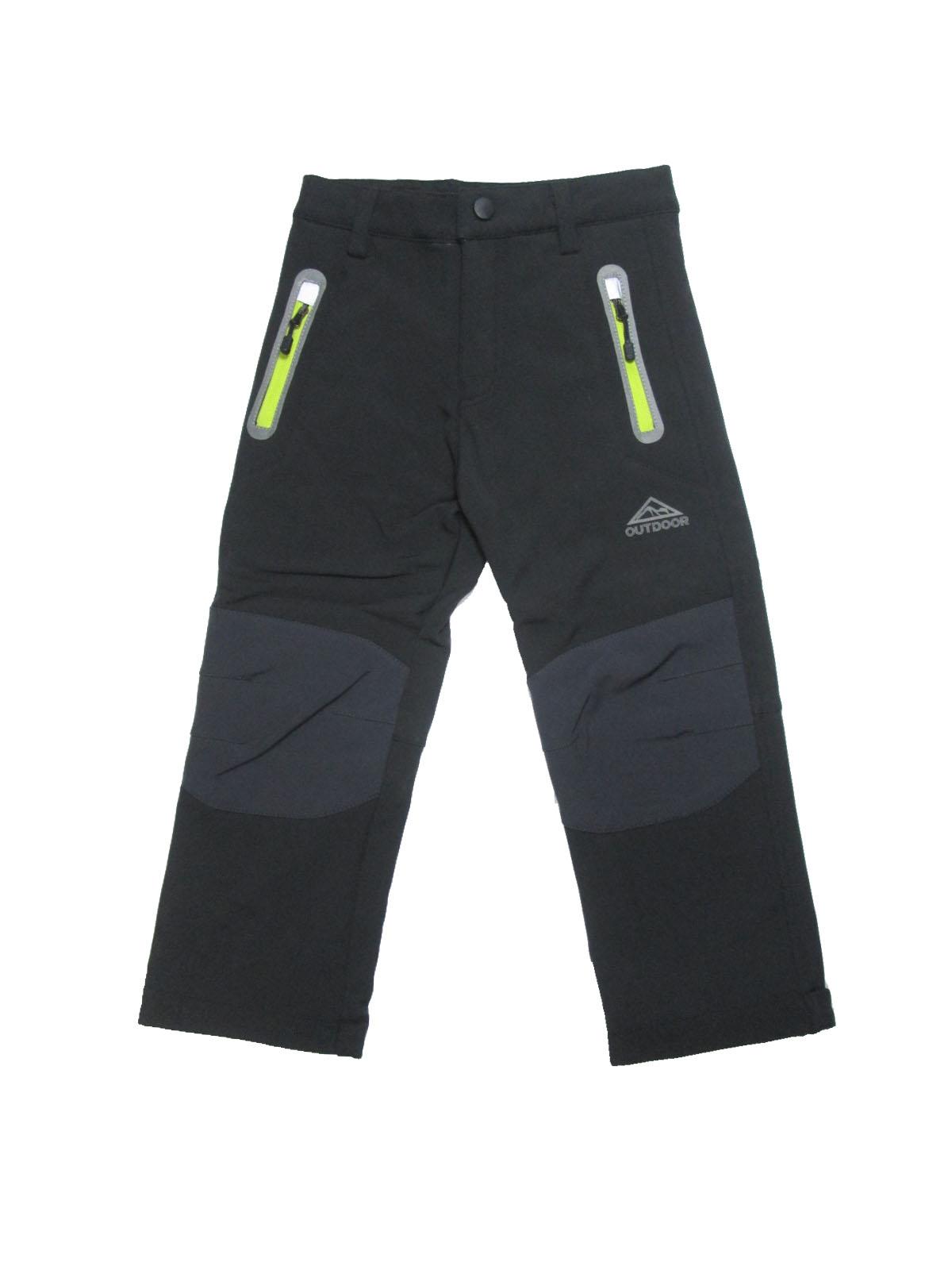 98-128-Dětské softshellové kalhoty flees KUGO - černá barva (žluté zipy)