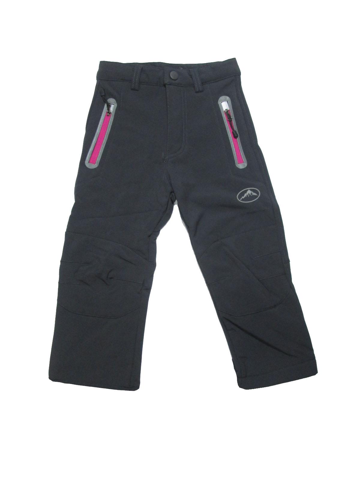 104-128-Dětské softshellové kalhoty flees KUGO - šedá barva (růžové zipy)