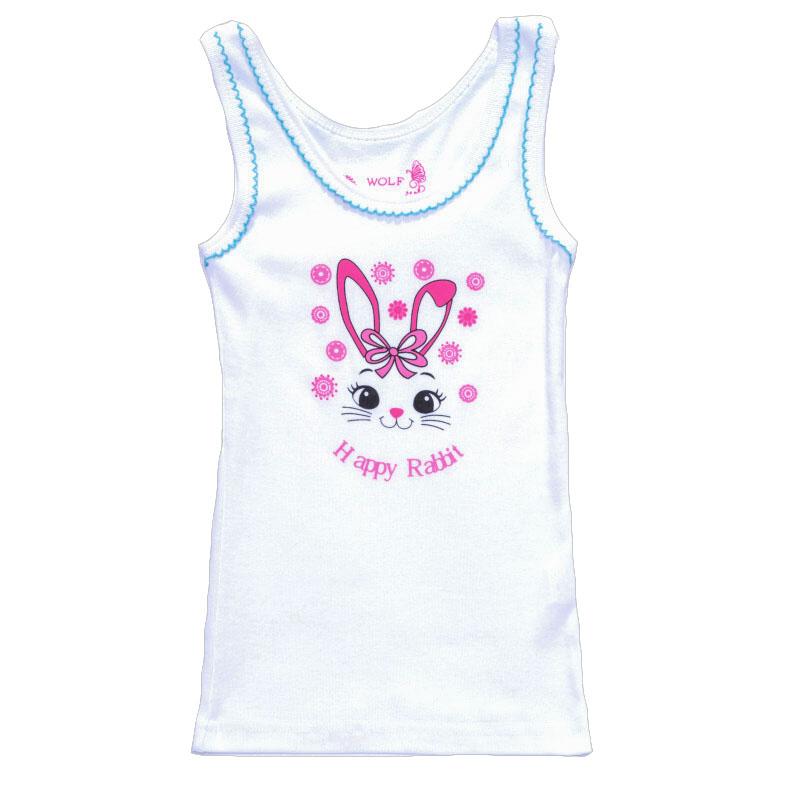 vel.98-128-Dívčí košilka - tílko WOLF - bílá barva