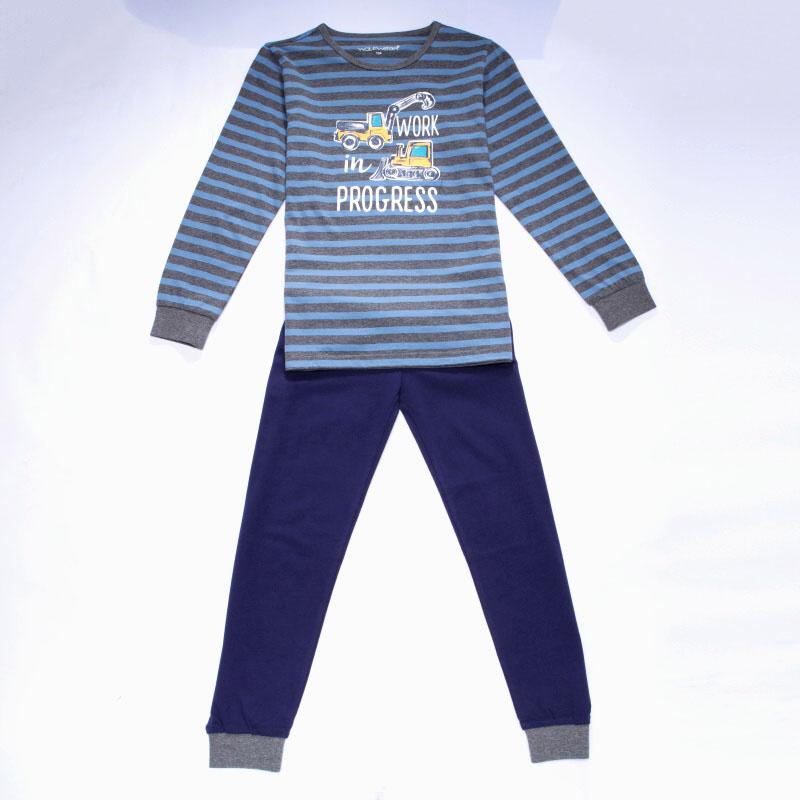 110-134-Chlapecké pyžamo WOLF - tm.šedo-modrá barva