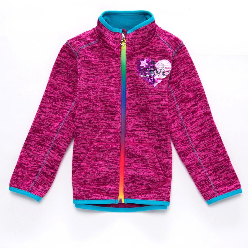 98-128-Dívčí pleteninová (teplejší) mikina WOLF - růžová barva