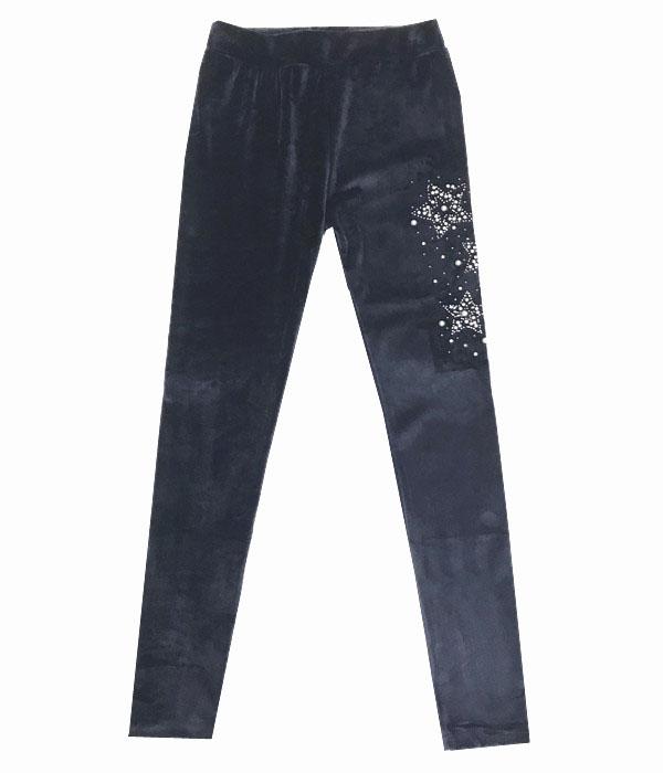 122-146-Dívčí sametové teplé legíny KUGO - tm.modrá barva