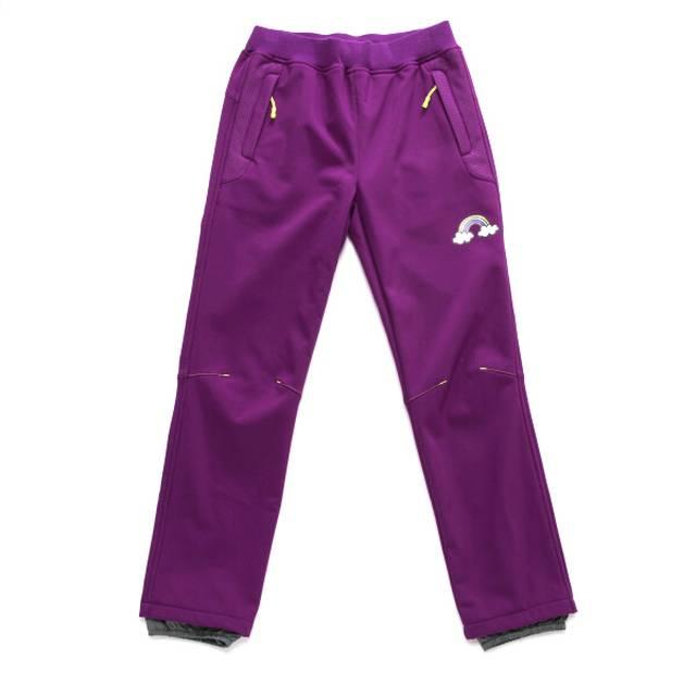 128,140-Dětské softshellové kalhoty -flees- WOLF - fialová barva