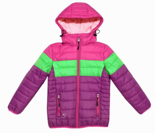 104,128-Dívčí zimní bunda KUGO - růžovo-fialová-zelená