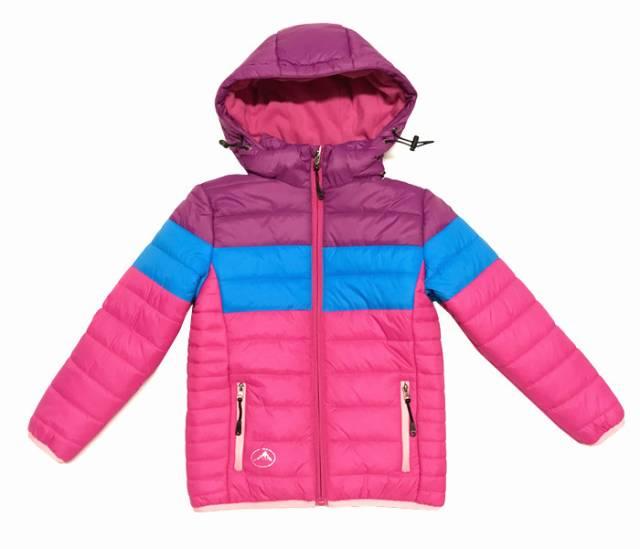 98,110-Dívčí zimní bunda KUGO - růžovo-fialová-modrá