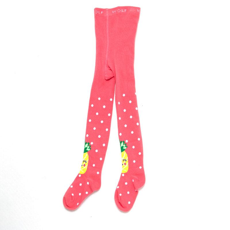 110-128-Dívčí punčocháče WOLF - růžovo-červená barva