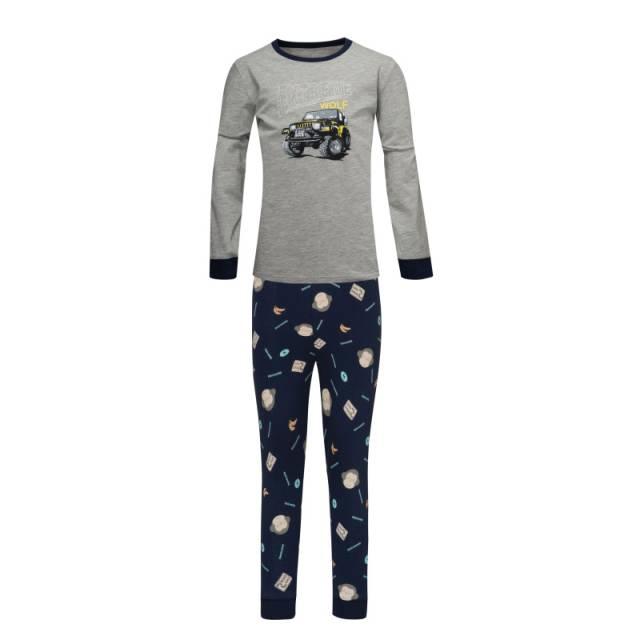 110-140-Chlapecké pyžamo WOLF - šedo-tm.modrá barva