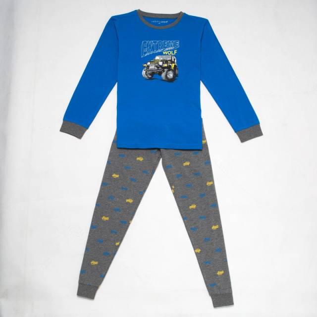 110-140-Chlapecké pyžamo WOLF - sv.zeleno-tm.modrá barva