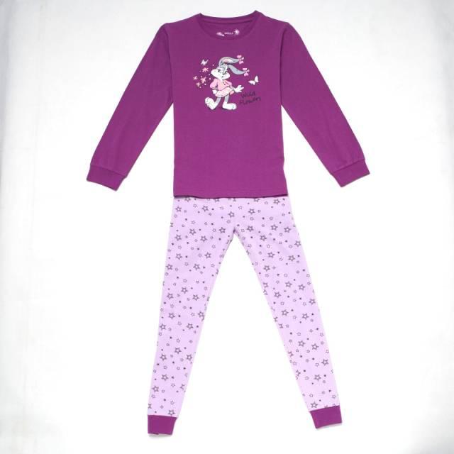 110-140-Dívčí pyžamo WOLF - fialová barva