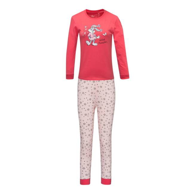 110-140-Dívčí pyžamo WOLF - červená barva