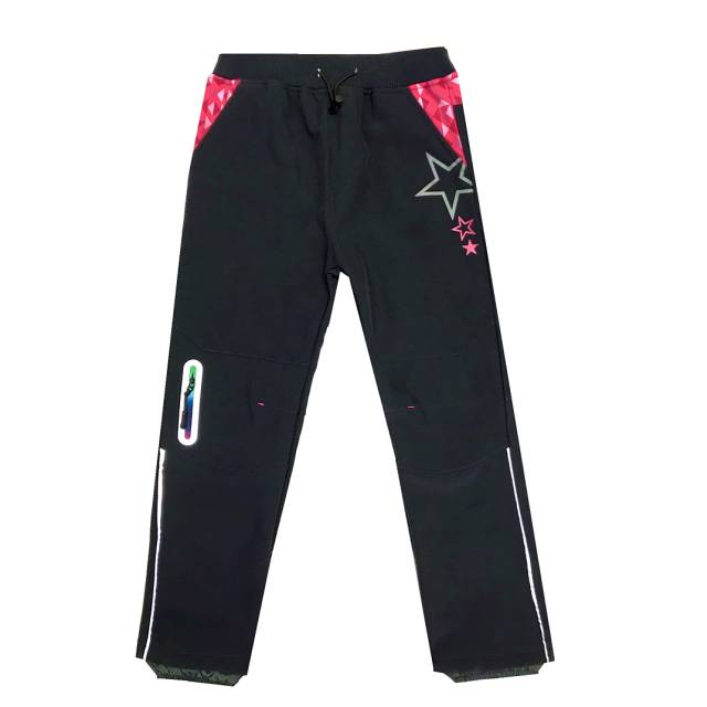 104,128-Dívčí softshellové kalhoty KUGO - flees - šedá barva - růžové doplňky
