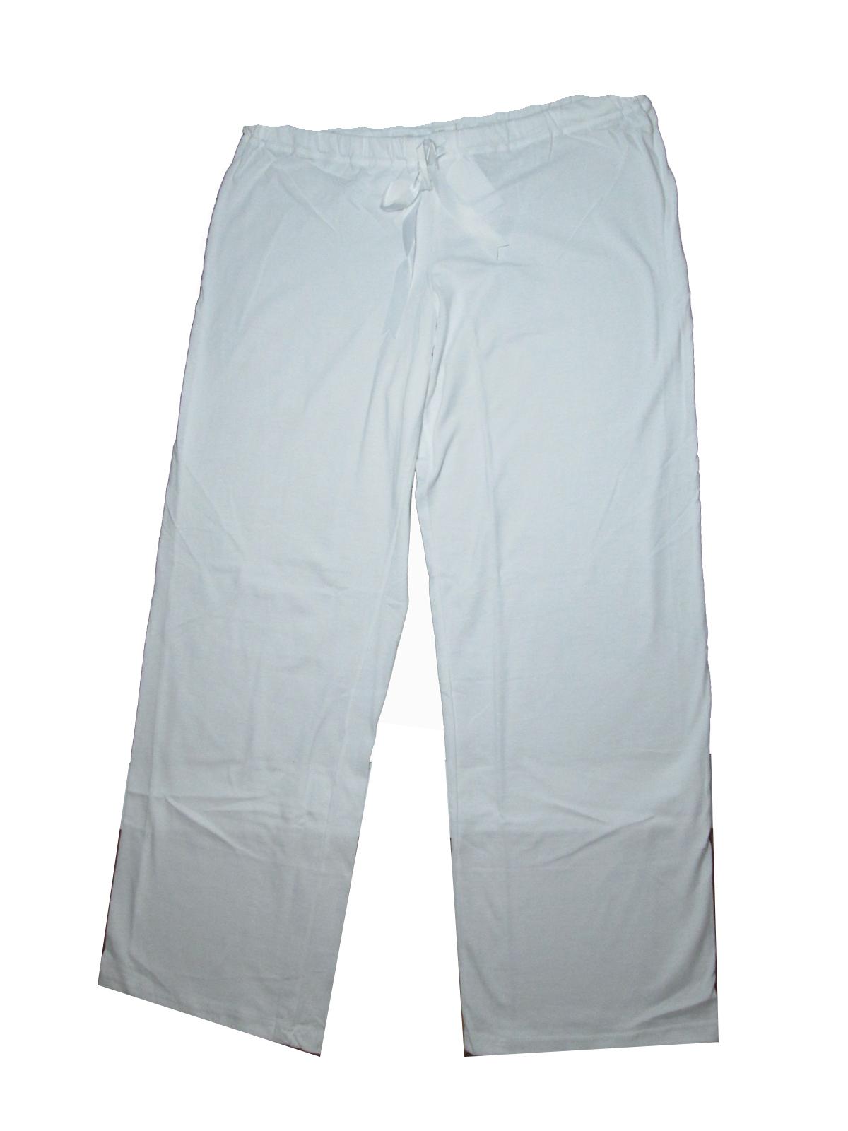 L-Těhotenské domácí kalhoty na šňůrku - bílé